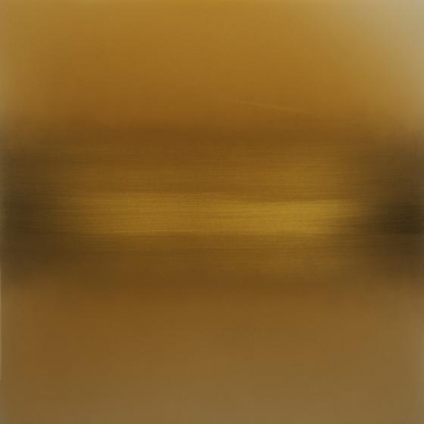 Vermillion Summer Yellow, 2014, pigment, lacquer, resin, dye on aluminum, 36 x 36 inches/91.5 x 91.5 cm