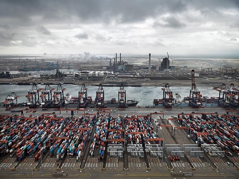 , Edward Burtynsky, Container Port, Maasulakte, Rotterdam, The Netherlands, 2011, Chromogenic color print, 48 x 65 inches. Photographs © 2011 Edward Burtynsky