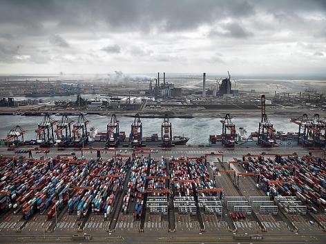 , Edward Burtynsky, Container Port, Maasulakte, Rotterdam, The Netherlands, 2011, Chromogenic color print, 48 x 65 inches. Photographs © 2011 Edward Burtynsky