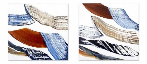 , Ricardo Mazel, Bhutan PF 28 & 29, 2016, Oil on linen, 40 x 84 inches/102 x 214 cm