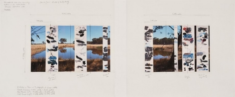 Bendigo: Fields of Subjectivity, 2014, one photograph, seven drawings, 19.75 x 43.75 inches/50 x 111 cm