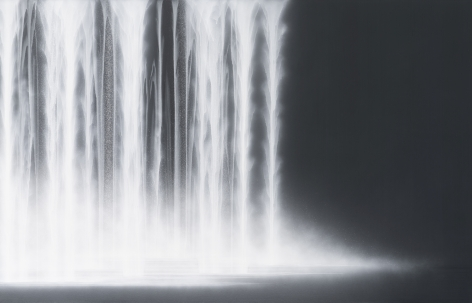 Waterfall, 2020, natural pigments on Japanese mulberry paper mounted on board, 57.25 x 89.5 inches/145.4 x 227 cm