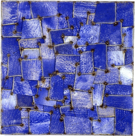 "Eppe Man, 2003, Pure pigment on galvanized steel, 36 x 36"""