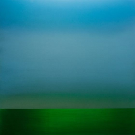 Miya Ando, Blue Green Sapphire 1, 2016, urethane and pigment on aluminum, 48 x 48 inches/122 x 122 cm