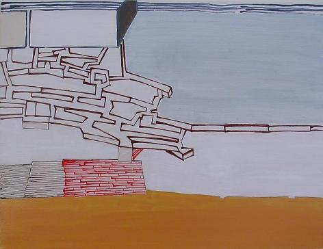"Frances Barth Sharp Orange Plane, 2008  Acrylic on panel  16.5 x 21.5"""