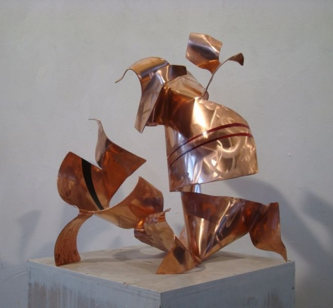 Autotunage, 2011, red copper, industrial paint, 24x 22.5 x 19.75 inches/61 x 57.2x 50.2cm