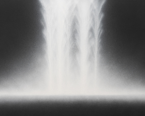 Hiroshi Senju, Waterfall, 2018, natural pigments on Japanese mulberry paper mounted on board, 28.7 x 35.8inches/73 x 91 cm