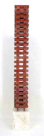 Urbana XIII (red), 2007, pure pigment on steel mounted on marble base, 74 x 10 x 10 inches/188 x 25.4 x 25.4 cm