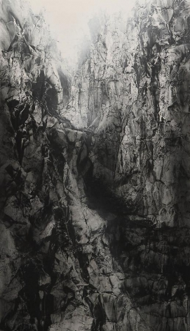 , Hiroshi Senju, Cliff, Pure natural pigment on Japanese mulberry paper, 76 5/16 x 44 1/8 inches
