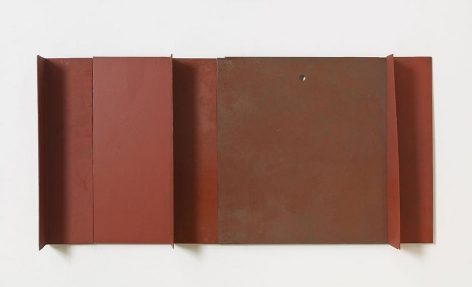 Untitled, 2011, rust preventive paint on steel, 12 x 25 inches