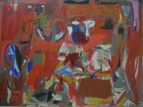 Janice Biala, Red Still Life, 1957, oil on canvas, 35 x 46 inches