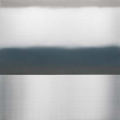 Miya Ando, Ephemeral Blue Grey Winter, 2015, pigment, urethane on aluminum, 48 x 48 inches