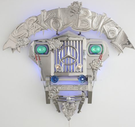Transformers I (Spakol-Bukol), 2010, stainless steel, jeep parts & LED lights,68.5 x 56.7 inches/174 x 144 cm