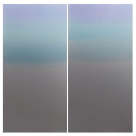 Miya Ando, Blue Purple diptych, 2013, Hand-dyed anodized aluminum, 48 x 48 inches