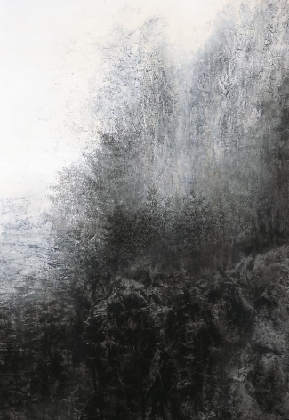 Cliff, 2012, natural and acrylic pigment on Japanese mulberry paper, 76.3 x 51.3 inches
