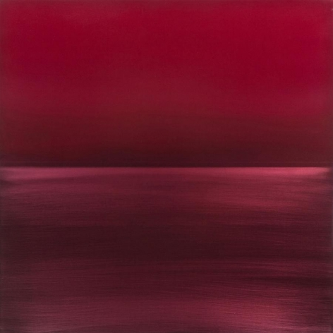 Miya Ando, Ephemeral Red, 2013, Dye, pigment, lacquer, resin on aluminum plate, 36 x 36 inches