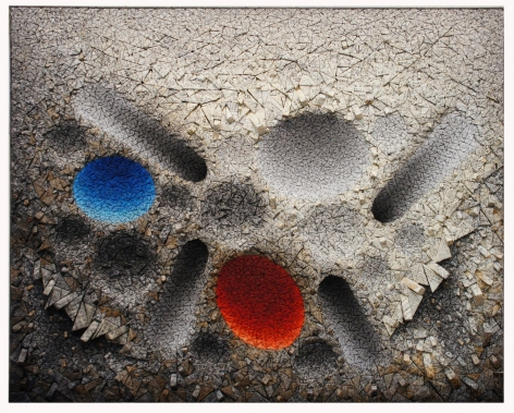Chun Kwang Young, Aggregation 12 - MY020 Blue & Red, 2012, mixed media with Korean mulberry paper, 51.6 x 64.2 inches/131 x 163 cm