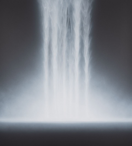 Hiroshi Senju, Waterfall, 2018, acrylic and natural pigments on Japanese mulberry paper, mounted on board, 55.1 x 50 inches/140 x 127 cm