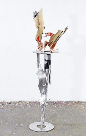 The Radiance, 2011, red copper, stainless steel, wood, industrial paint, 72.75 x 20.5 x 18.4 inches/184.8 x 52.1 x 46.7 cm