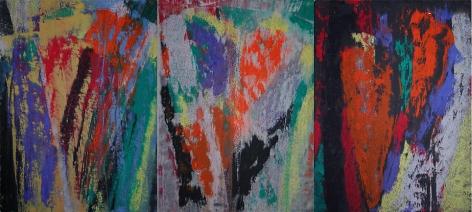 "Blaue Reiter (triptych), 2007, Mixed media on CartaLafranca, Each at 17 x 13.25"""