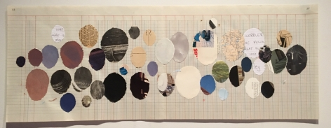 Simryn Gill, Untitled (Egg Drawing), 2017, collage, pencil and ink on paper, 12.5 x 33.4 inches/31.8 x 84.8 cm, one of triptych , Courtesy of Tracy Williams Ltd, New York