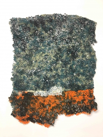 Untitled (among other things), 2019, plucked Japanese handmade paper, acrylic paint, thread, 26 x 21 inches/66 x 53.3 cm
