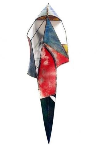 """Kimono Evening, 2009, pigment on galvanized steel, 97 x 28 x 14"""""""