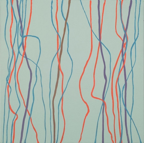 Betty Weiss, Dangle, 2011, acrylic on canvas, 12 x 12 inches