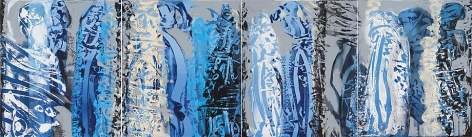 , Ahmad Moualla, Untitled, 2010, acrylic on canvas, 23.6 x 78.7 inches