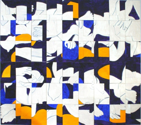 Configurations - Blue and Orange, acrylic on paper, 60 x 66 inches