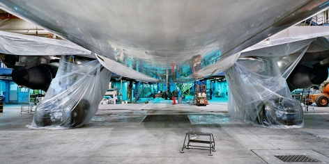 Edward Burtynsky, Air Canada 1993 Maintenance Hanger, #3, Montreal, Quebec, Canada, 1993, chromogenic color print, 30 x 60 inches 76.2 x 152.4 cm