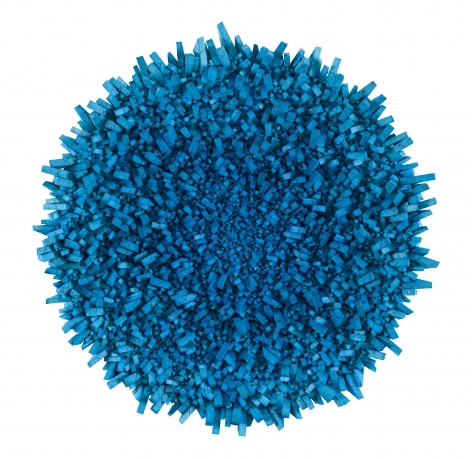 Chun Kwang Young, Aggregation 18 - JA006 (Star 1), 2018, mixed media with Korean mulberry paper, 63 inches/160 cm tondo