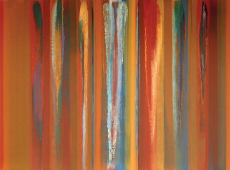 "The Sound of Ganga, 2008, Acrylic on linen, 94.5 x 128.75"""