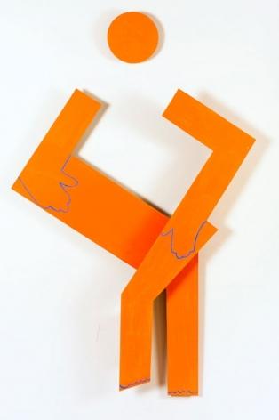 Sitting Squarely, 2009, acrylic on masonite, 55 x 33.5 x 3.75 inches/139.7x 85.1 x 9.5cm