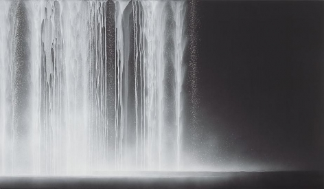 Hiroshi Senju, Waterfall, 2012, natural pigments on Japanese mulberry paper, 44 1/8 x 76 5/16 x 1 3/16 inches
