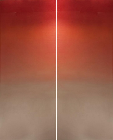 Meditation Red, 2013, patina, pigment, resin on aluminum, 24 x 60 inches each