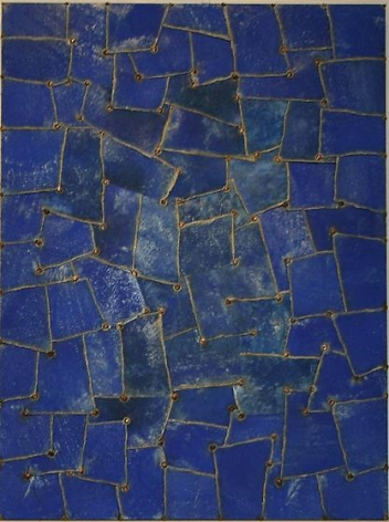 , Nathan Slate Joseph, Rajasthan Blue, 2006, pure color pigment on galvanized steel, 48 x 36 x 2 inches