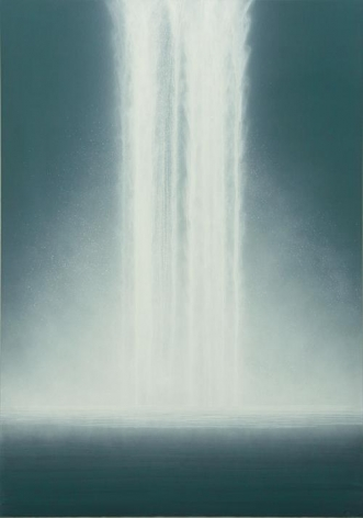 Hiroshi Senju, Waterfall, 2012, natural pigments on Japanese mulberry paper, 89 1/2 x 63 13/16 inches
