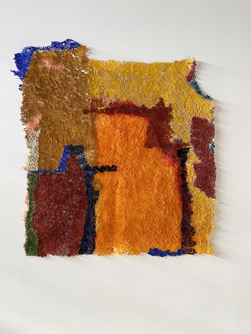 Making Home (native, alien), 2020, plucked Japanese handmade paper, acrylic paint, thread, 34 x 31 inches/86.4 x 78.7 cm