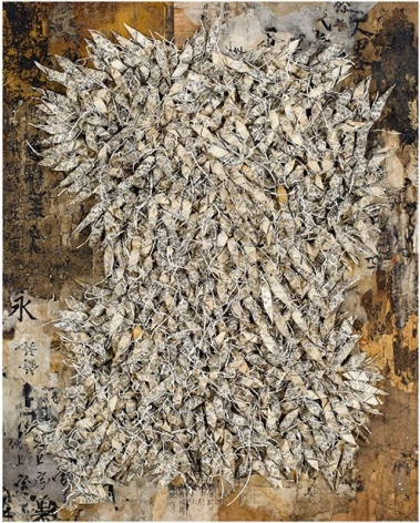 Chun Kwang Young, Aggregation 19 - AP032, 2019, mixed media with Korean mulberry paper, 35.75x 28.75inches/91 x 73 cm