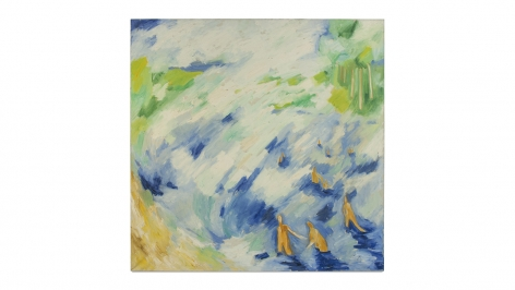 Swimming Figures, 1958, acrylic on linen, 51 x 51 inches/129.5 x 129.5 cm