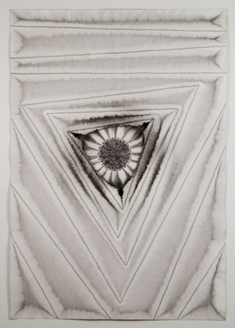Sohan Qadri, Puja III, 2006, ink and dye on paper, 39 x 27 inches/99.1 x 68.6 cm