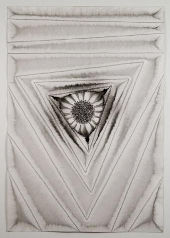 Sohan Qadri, Puja III, 2006, ink and dye on paper, 39 x 27 inches/99.1 x 68.6 cm