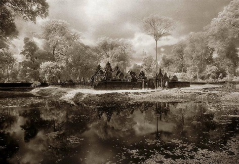"""Banteay Srei and Moat"", Silver Gelatin Print, 20 x 40"""