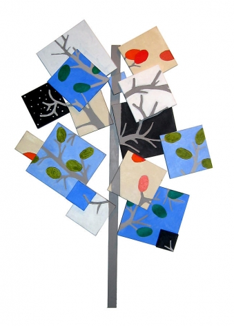 Susan Weil, Year of the Tree, 2005, Acrylic on canvas on wood, 87 x 79""