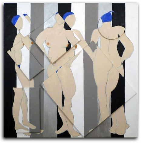 Figure Turning, 2008, acrylic on multiple canvases, 60 x 60 inches/152.4 x 152.4 cm
