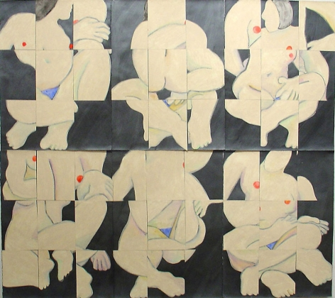 Susan Weil, Color-Congig-Gray (people sitting), 2000, Acrylic on paper, 60 x 66""