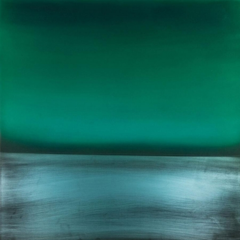 Miya Ando, Ephemeral Green, 2013, Dye, pigment, lacquer, resin on aluminum plate, 36 x 36 inches