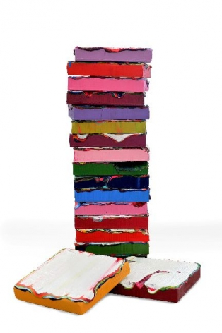Stack #2, I, 2013, acrylic paint, gel on mixed fiberglass base, 12.2 x 12.6 x 22.6 inches/31 x 32 x 57.5 cm