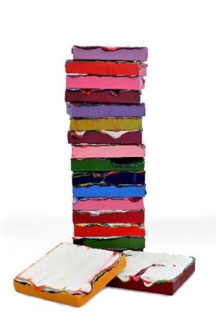 Stack #2, I, 2013, acrylic paint, gel on mixed fiberglass base, 12.2 x 12.6 x 22.6 inches/31 x 32 x 57.5cm